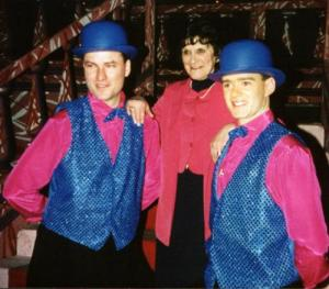 June with Callum and Simon on the set of Gentlemen Prefer Blondes 1996