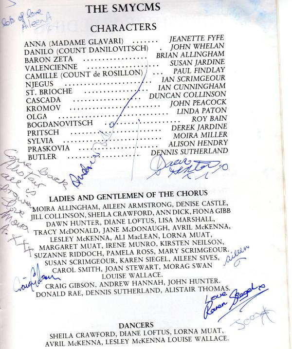 Cast List Merry Widow 1984