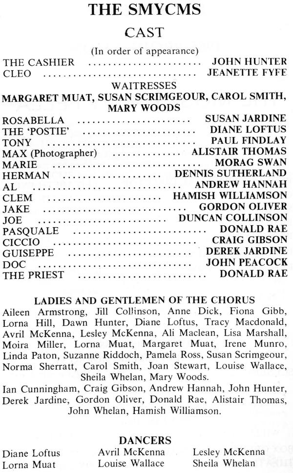 Cast List, The Most Happy Fella